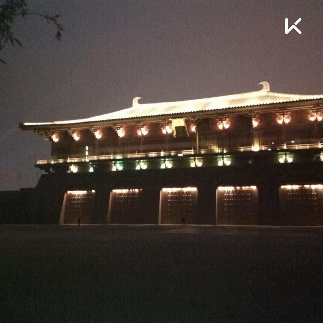 給大家看下今天馬拉松比賽地方的夜景,西安大明宮遺址公園.圖片
